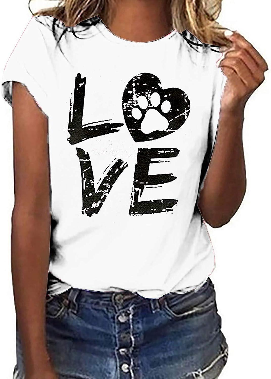 Womens Summer Tops Summer Tshirt for Women Dog Paw Graphic Tees Love Letter Print Tops Short Sleeve Crewneck T Shirt