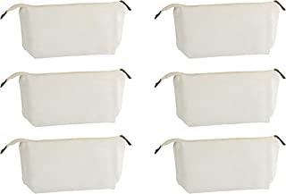 Multipurpose Cosmetic Bag with Zipper - 6-Pack Plain DIY Natural Make-Up Pouch, Cotton Canvas Travel Toiletries Bag, for Women and Teens, Off-White, 11.75 x 5.5 Inches