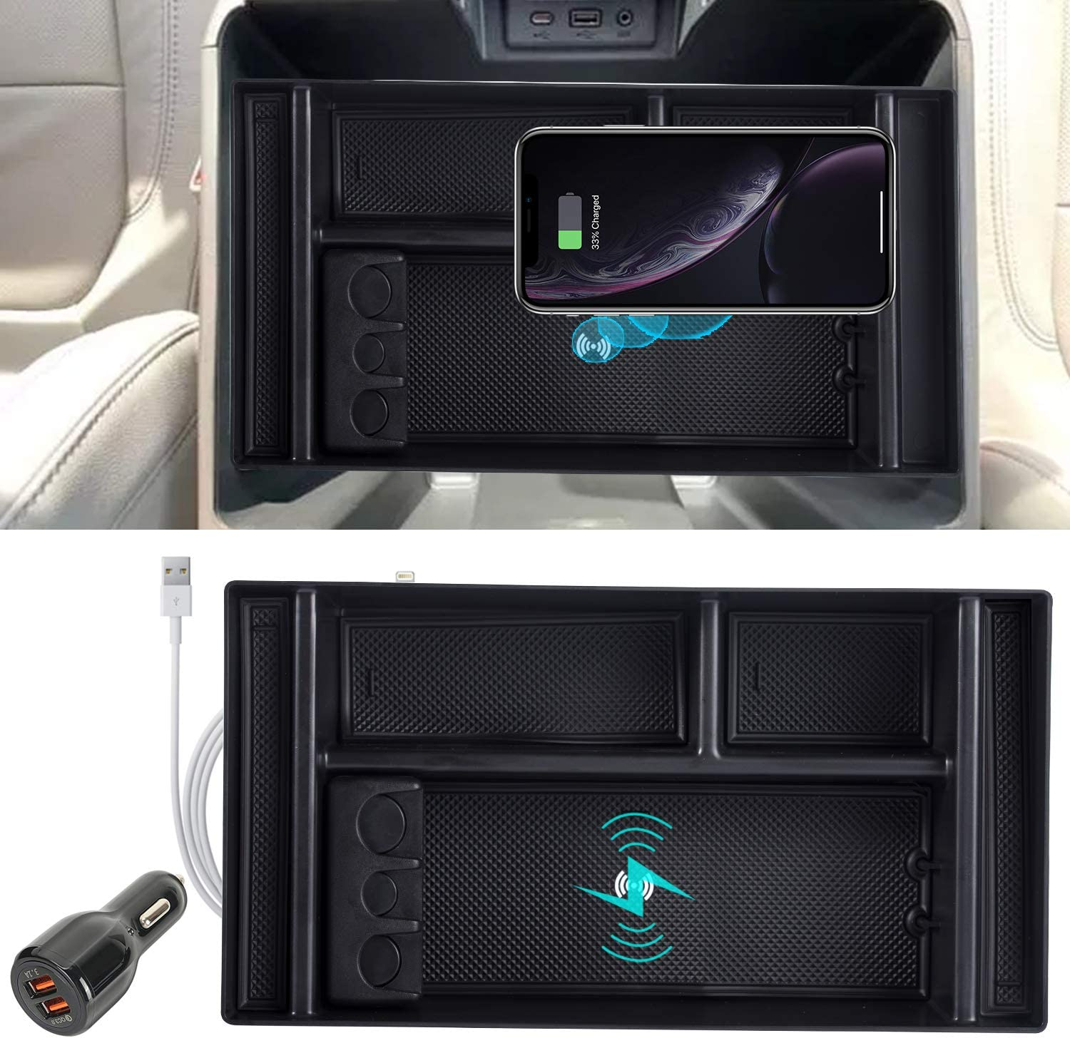 ROCCS Wireless New York Mall Bombing free shipping Charging Center Console Tray 2 for 2019 Organizer
