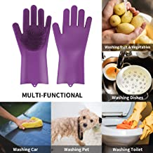 Scrubber Gloves, BEAUTLOHAS. 1 Pair of Reusable Silicone Dish-washing Gloves (12.6
