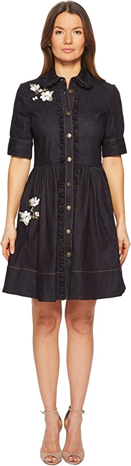 Kate Spade New York - Embroidered Denim Shirtdress