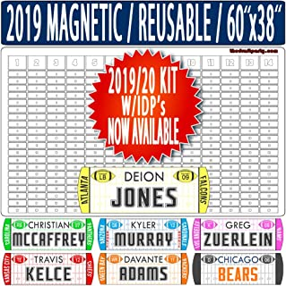 "Fantasy Football Draft Board - W/Individual Defensive Players - Reusable/Portable - 2019/20 Magnetic Kit, 388 Movable Names - Write/Erase Option – Multi-Sport (MLB, NHL, NBA) – Large 60""x38"""