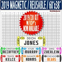 "Fantasy Football Draft Board - W/Individual Defensive Players - Reusable/Portable - 2019/20 Magnetic Kit, 388 Movable Names - Write/Erase Option – Multi-Sport (MLB, NHL, NBA) – Large 60""x38"""