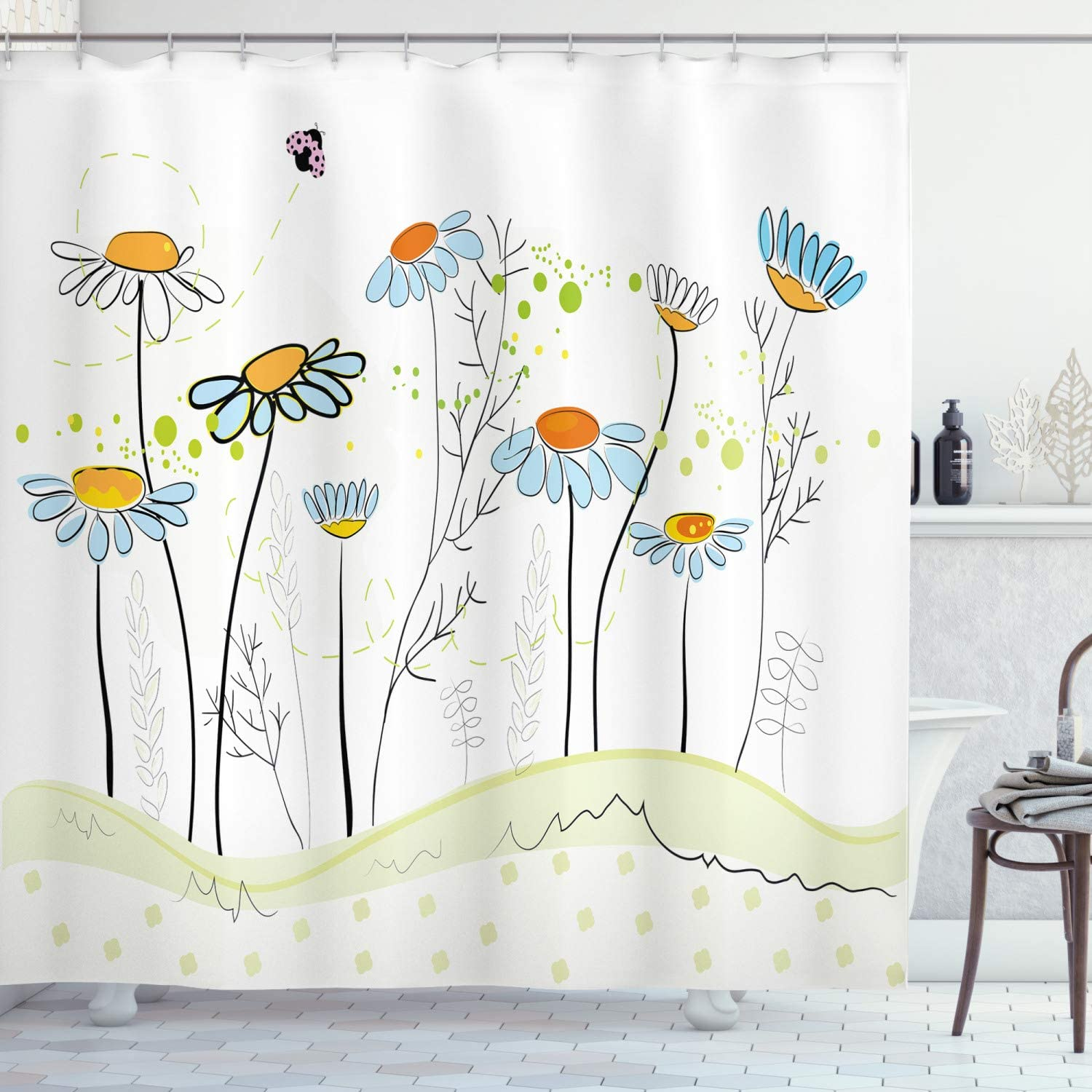 Ambesonne Floral Shower Curtain Gardening Theme Daisy Flowers In Spring Illustration Romantic Design Cloth Fabric Bathroom Decor Set With Hooks 70 Long Yellow Blue Home Kitchen