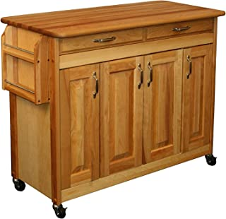 Wood & Style Furniture Butcher Block Island with Raised Panel Doors One Size Brown Home Office Commerial Heavy Duty Strong Décor