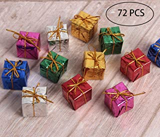 Hapy Shop Christmas Tree Decor 72 Pieces Mini Christmas Ornaments Foam Gift Box Shiny Metallic Wrapped Miniature Package Ornaments for Xmas Tree, Assorted Colors