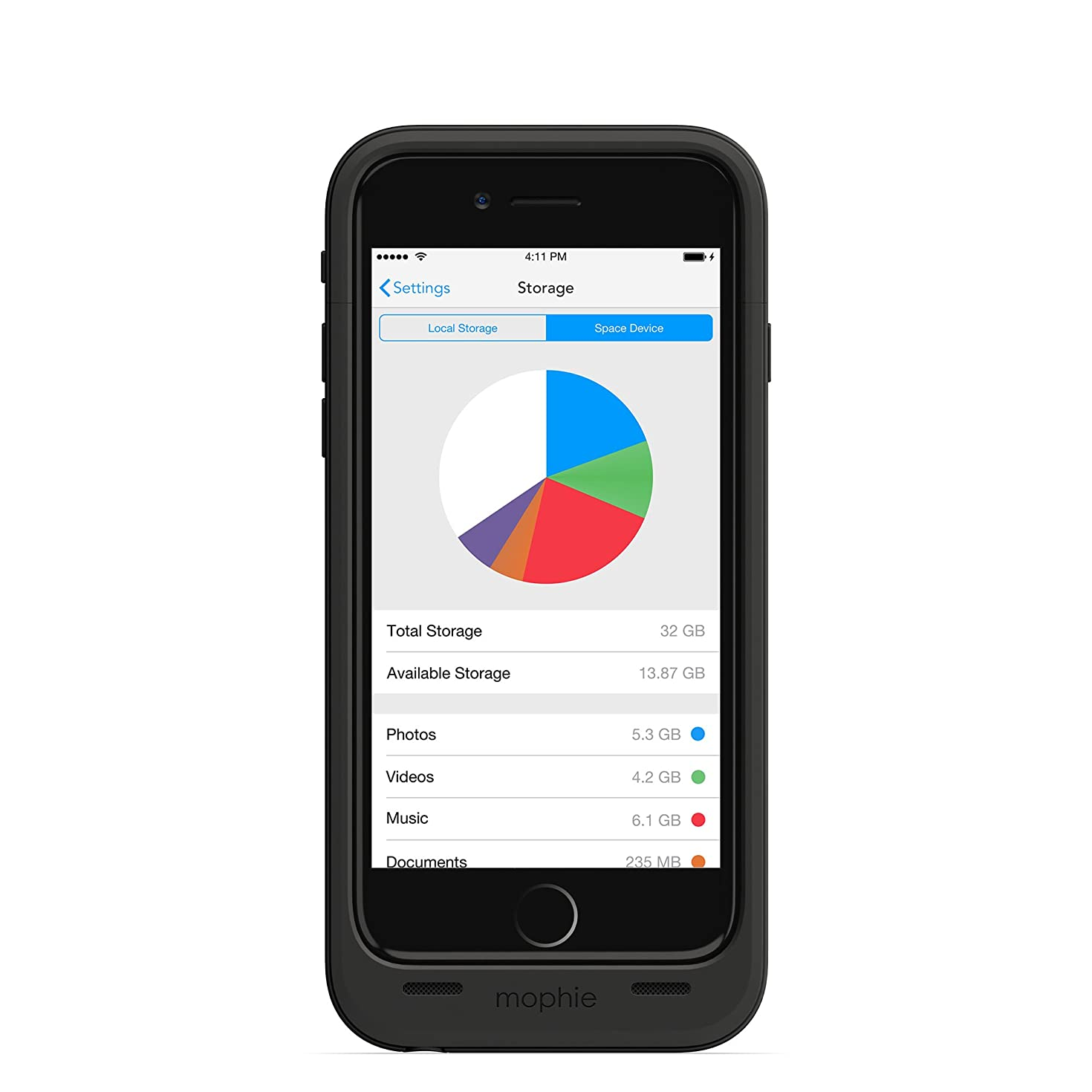 mophie spacepack with Built-In 32GB storage for iPhone 6/6s (3,300mAh) - Black