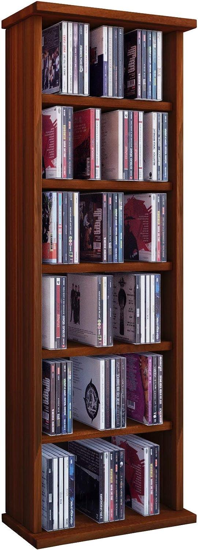 VCM Shelf Shelving Storage Unit Bookshelf Bookcase Cabinet CD DVD Tower Wooden in 6 Colours Core Walnut Vostan