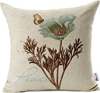 Monkeysell Lotus Leaf Butterfly Flowers Pattern Cotton Linen Throw Pillow Case Cushion Cover Home Sofa Decorative 18 X 18 Inch (S042A4)