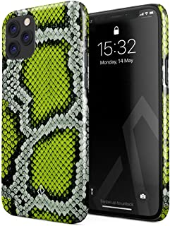 BURGA Phone Case Compatible with iPhone 11 Pro Max Neon Green Snake Skin Print Serpent Pattern Summer Exotic Tropical Cute for Women Thin Design Durable Hard Plastic Protective Case