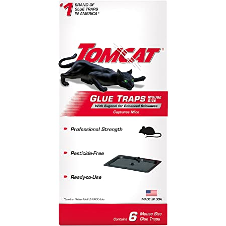 Tomcat Glue Traps Mouse Size with Eugenol for Enhanced Stickiness, Contains 6 Mouse Size Glue Traps - Captures Mice and Other Household Pests - Professional Strength, Pesticide-Free and Ready-to-Use