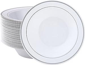 JOLLY PARTY 50 Plastic Bowls with Silver Rim-12oz Disposable Soup Bowls - Premium Heavy Duty Plastic Dessert Bowls for Wedding/Party, Silver