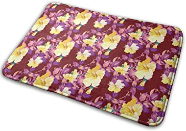 The Exotic Flavor of Hawaiian-Style Flowers and Tropical Leaves Carpet Non-Slip Welcome Front Doormat Entryway Carpet Washabl
