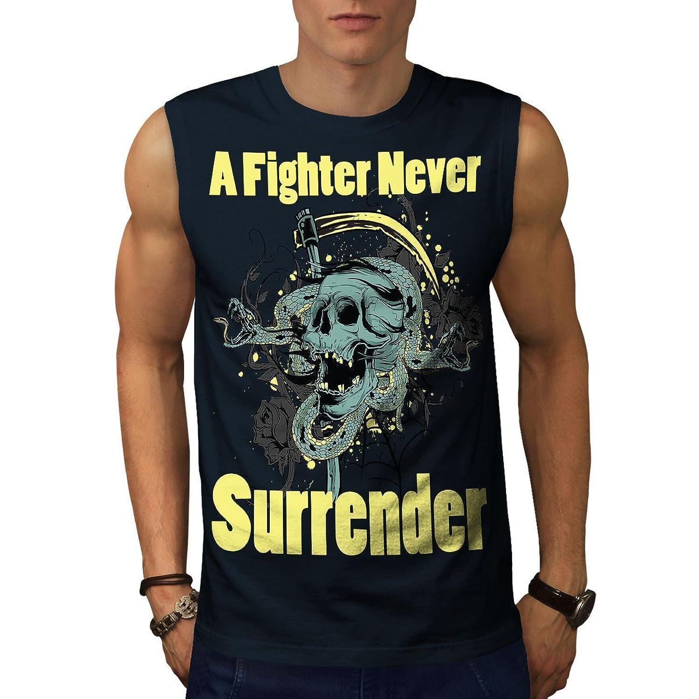 Wellcoda 降伏 頭蓋骨 決して 男性用 S-5XL 袖なしTシャツ