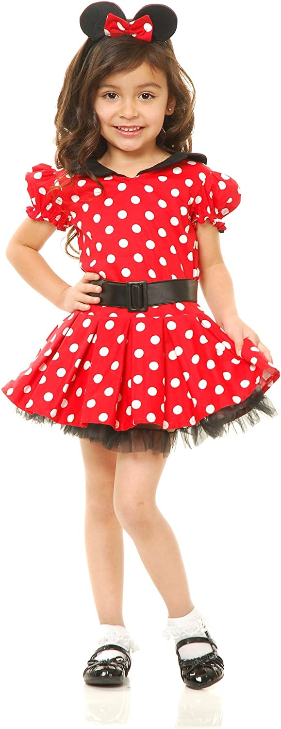 Charades CH83332_TODD Miss Mouse Costume Dress, Red, Toddler