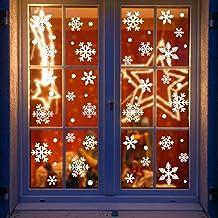 Yuson Girl 108 Blanco Bola y Copos de Nieve Frozen Colgante Decoracion Adorno Pegatinas de Ventana Navidad Decoracion Reutilizable Murales Decorativos Pared Invierno Puerta Exterior Tienda Casa