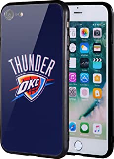 The Mass iPhone 8 case, iPhone 7 case, NBA Team Logo on Tempered Glass Back Cover and Soft TPU Frame for Apple iPhone 8/7 (Oklahoma City Thunder, 4.7 inch)