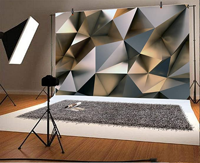 8x12 FT Abstract Vinyl Photography Backdrop,Geometric Chaos Triangular Mosaic Polygonal Fractal Contemporary Modern Design Background for Baby Shower Bridal Wedding Studio Photography Pictures