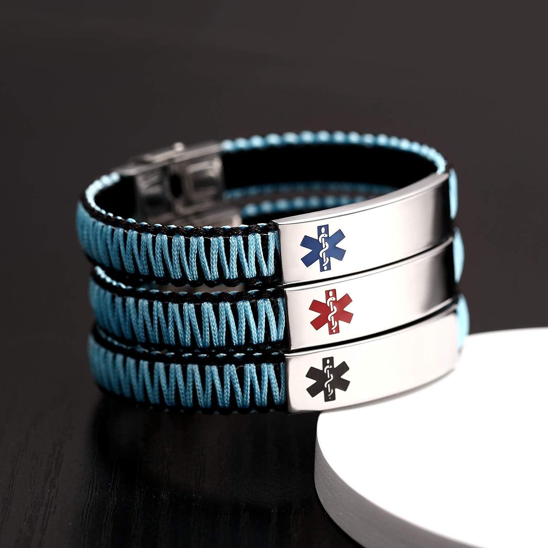 Medical Alert ID Bracelet for Women Girls | Customize Stainless Steel with Nylon-Rope Braided Allergy Alert Bracelet, Adjustable Free Engraving