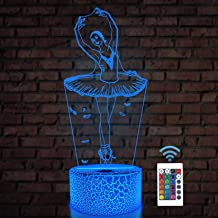 Ballet Dancing Gifts, 3D Illusion Lamp Kids Night Light with Remote Control 16 Colors Changing Gifts for Mom, Birthday Gif...