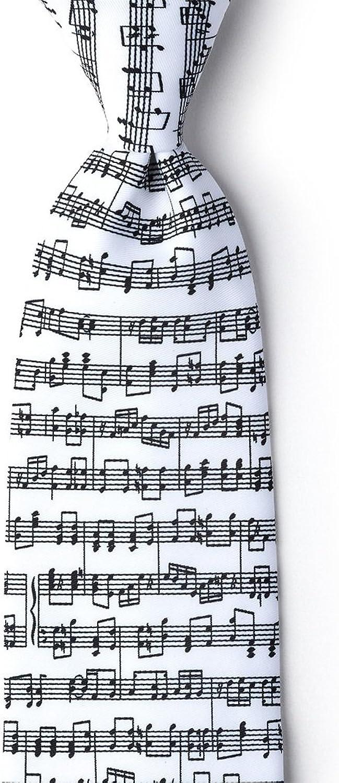 Sheet Music White Microfiber Tie