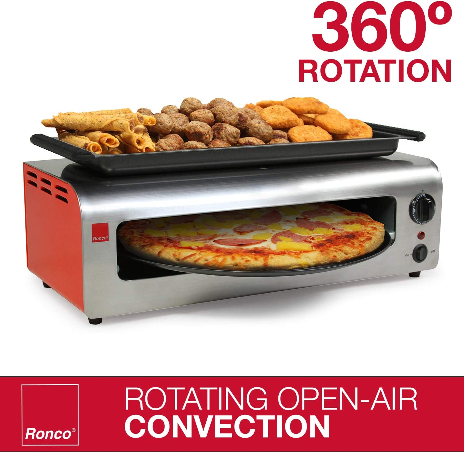 Cooks 40/% Faster Ronco Pizza and More Dishwasher Safe Accessories Party Convection Oven Includes Warming Tray and Non-Stick Pan Pizza Oven with Warming Tray Countertop Open-Air Convection Oven Red Stainless Automatic Shut-Off Timer