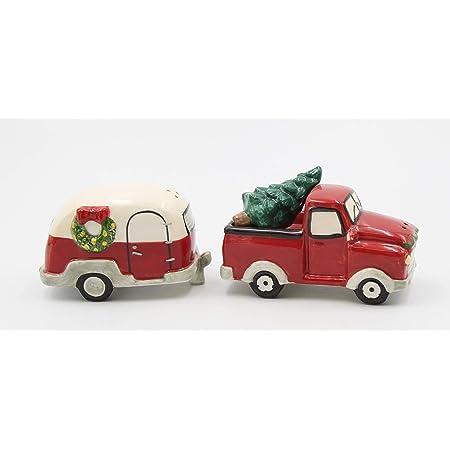 """Fine Ceramic Christmas Holidays Travel Vintage Truck with Camper Trailer Salt & Pepper Shakers Set, 3-3/4"""" L"""
