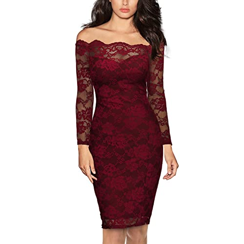 ba753ccff4bb Miusol Women's Vintage Off Shoulder Flare Lace Slim Cocktail Pencil Dress