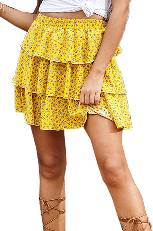 Womens Casual Skirts Summer Chiffon Floral Ruffled High Waist Beach A-Line Mini Skirt