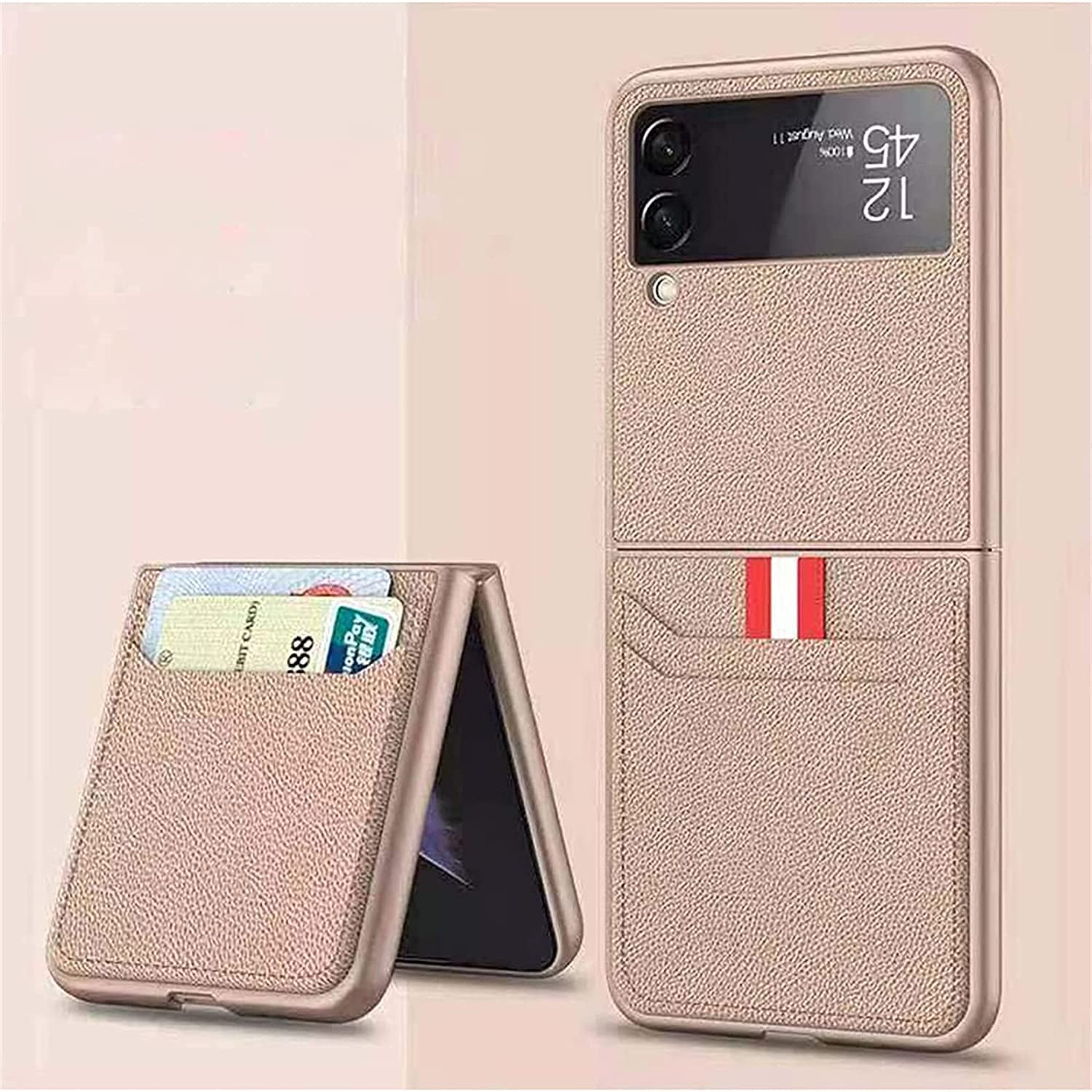 for Samsung Galaxy Z Flip 3 5G Case, Shockproof Leather Lightweight Cover Full Protective Cases with Wallet Card Suitable for Samsung Galaxy Z Flip 3 5G (Gold)