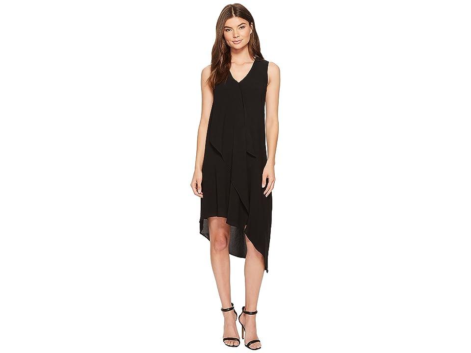 Adrianna Papell Asymmetrical Front Drape Dress (Black 2) Women