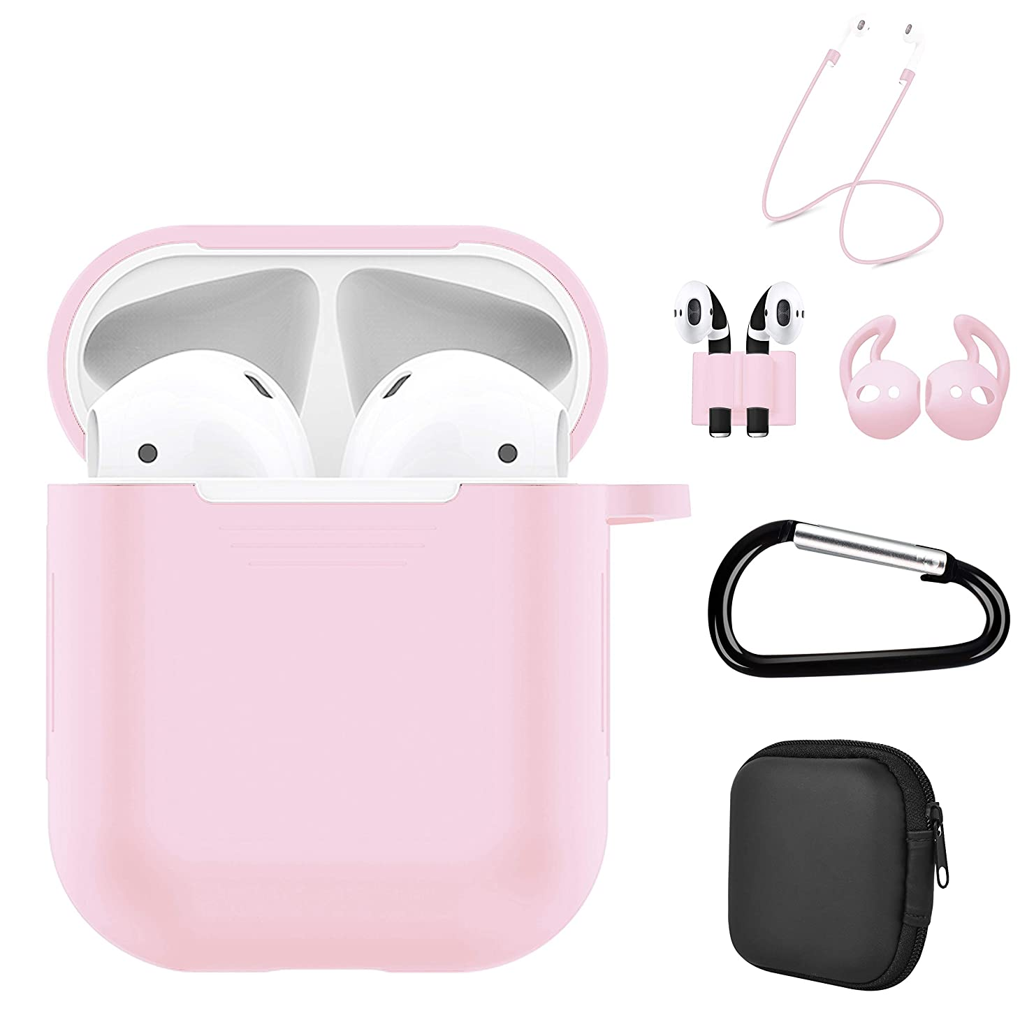 Luvcase 6 in 1 Airpods 2 & 1 Case, Accessories Kits Airpods Charging Cover Skin with Anti-Lost Carabiner Clips Keychain/Ear Hook Grips/Airpods Straps/Watch Band Holder/Airpods Case Holder (Baby Pink)