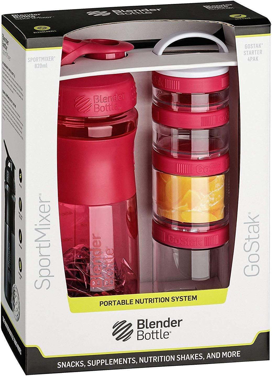 BlenderBottle Combo Pak - Sportmixer y GoStak 4Pak con una práctica asa de transporte y un empaque de regalo atractivo - pink