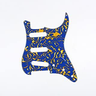 Musiclily SSS 11 Holes Strat Electric Guitar Pickguard Scratch Plate Pick Guards for Fender US/Mexico Made Standard Stratocaster Modern Style Guitar Parts,4Ply Shell Blue Yellow