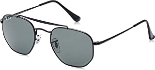 Ray-Ban RB3648 The Marshal Square Sunglasses, Black/Polarized Green, 51 mm