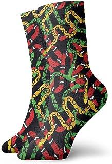 Calcetines de tobillo de dibujos animados de serpiente verde Casual divertidos para botas de deporte Senderismo Running Etc