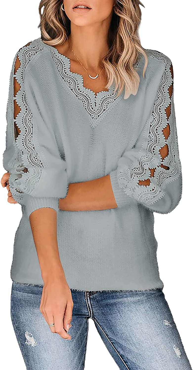 Astylish Womens Lace Crochet Sweater V-Neck Long Sleeve Hollow Out Knit Pullover Jumper Tops