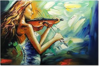 V-inspire Art, 24x36 Inch Modern Abstract Artwork Music Art Painting Violin Girl Canvas Painting Wall Art Home Decorations Wall Décor Stretched Frame Ready to Hang
