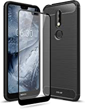 Olixar for Nokia 7.1 Case with Screen Protector - 360 Protection/Front + Back - Full Body Cover - 9H Tempered Glass - Wireless Charging Compatible - Sentinel - Black