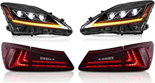 MOSTPLUS LED Projecctor Headlight+ Red Clear Tail light For Lexus IS350 IS250 2006-2012 (Set of 4)