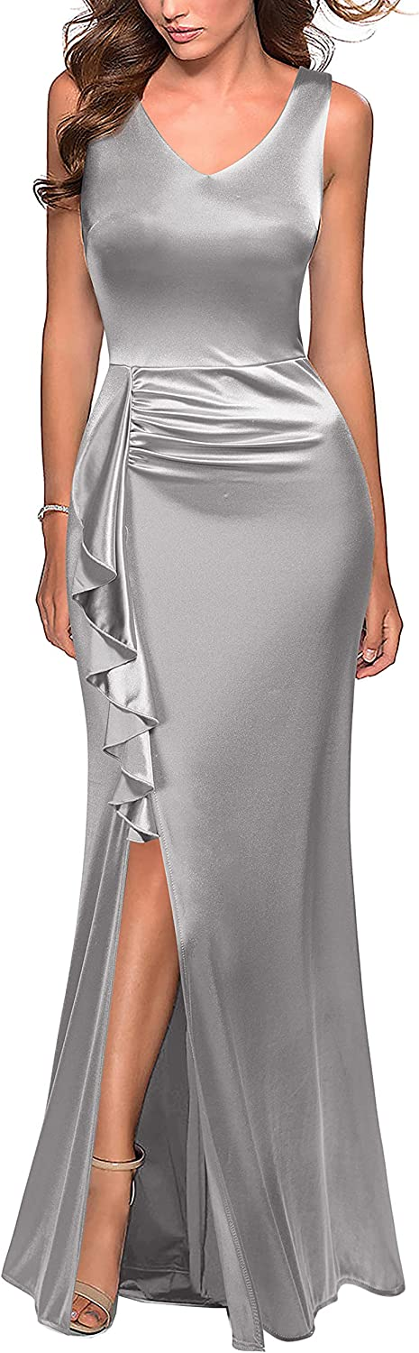 FORTRIC Women Sleeveless Ruffle Slit Evening Party Formal Bridesmaid Dresses