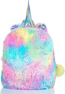 Mumoo Bear Fluffy Unicorn Backpack, Mumoo Bear Cute Plush Unicorn Backpack,Fluffy Mini Unicorn Backpack Bags for Girls Kid...