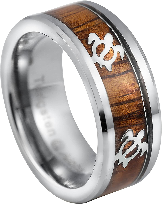 Tungsten Carbide Hawaiian Koa Wood Fit Ring Mesa Mall Comfort Sale price Turtle 8mm