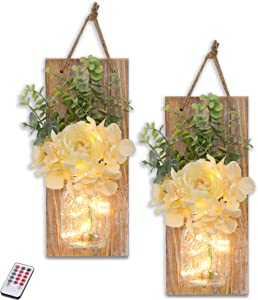 GBtroo Mason Jar Sconces Wall Decor -Country Farmhouse Wall Art Decor with Wireless Remotefor Living Room,Dining Room,Battery Operated LED Fairy Lights,Set of 2