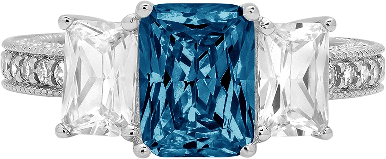4.26 ct Emerald Round Cut Solitaire 3 stone Accent Genuine Flawless Natural London Blue Topaz Gemstone Engagement Promise Statement Anniversary Bridal Wedding Ring Solid 18K White Gold