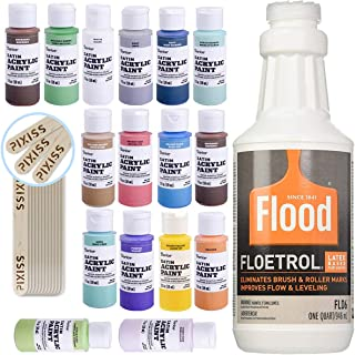 1 Quart Flood Floetrol Additive, 16 2-Ounce Acrylic Paints, 20x 6-inch Pixiss Wood Mixing Sticks