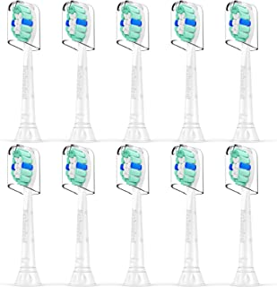 سر مسواک جایگزین برای Philips Sonicare: 10 عدد سر برس جایگزین سازگار با کنترل پلاک Phillips Sonicare و همه مسواک های برقی Snap-on ، HX9023