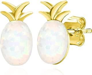 925 Sterling Silver Oval Synthetic Opal Pineapple Plain Silver Stud Earrings