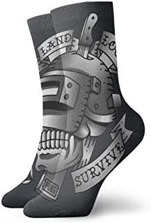 Lsjuee Tattoo Gamer Fashion Calzini corti neri