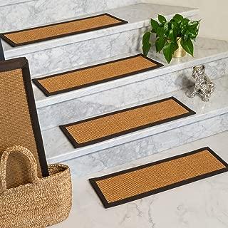 NaturalAreaRugs 100% Natural Fiber Chandler, Sisal Gold, Handmade Stair Treads Carpet Set of 13 (9